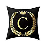 Letter Pillow Case Covers Bronzing Throw Pillow Case 18x18'' English Alphabets Cushion Cover Modern Square Pillowcase for Home Sofa Couch Decor (C)