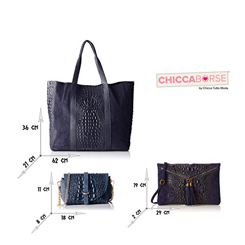 Italy Bundle Blu Pelle In Made Borse Triplo Chicca 58xqTwYZT