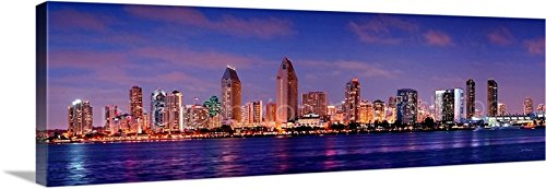 CANVAS San Diego Skyline DUSK 16 inches x 46 inches COLOR City Downtown Photographic Panorama Print Photo Picture