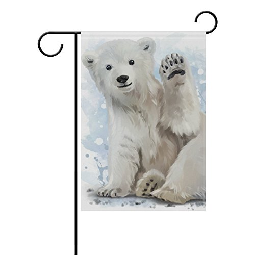 QQshiqI Seasonal Holiday Garden Yard House Flag Banner 12.5 x 18 inches Decorative Flag for Home Indoor Outdoor Decor Arctic Bear Painting -