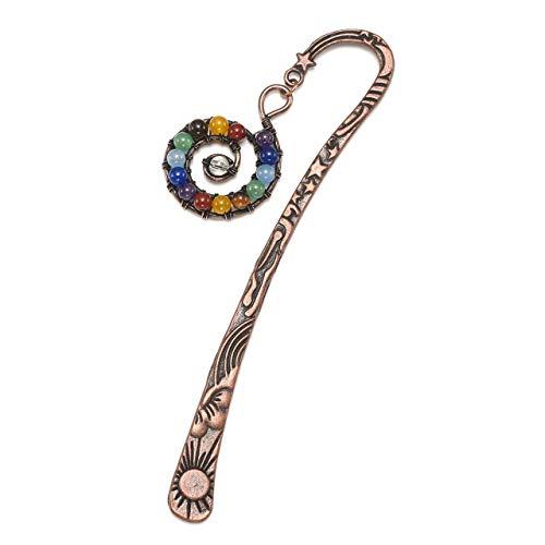 - JOVIVI Anqitue Copper Metal Bookmark Beading Bookmarks with Handmade 7 Chakra Healing Crystals Tree of Life Tumbled Gemstones/Swirl Round Beads Dangle (Swirl Symbol)