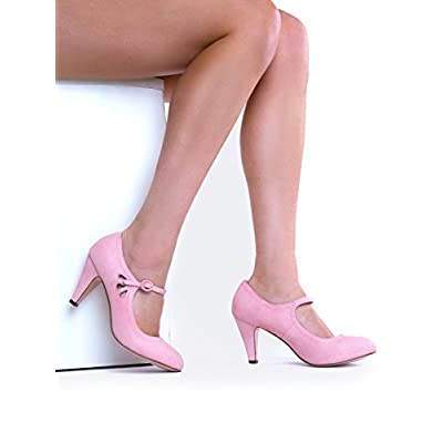Kitten Heels Mary Jane Pumps By Zooshoo- Adorable Vintage Shoes- Unique Round Toe Design With An Adjustable Strap, Rose Pink, 7.5 B(M) US | Pumps