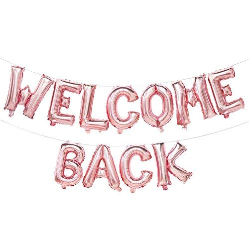 Welcome Back Balloon Banner | Rose Gold Welcome Back Party Decorations | Welcome Back Sign for Home, Classroom, Office | Back to School Party Decorations Supplies | 16inch -