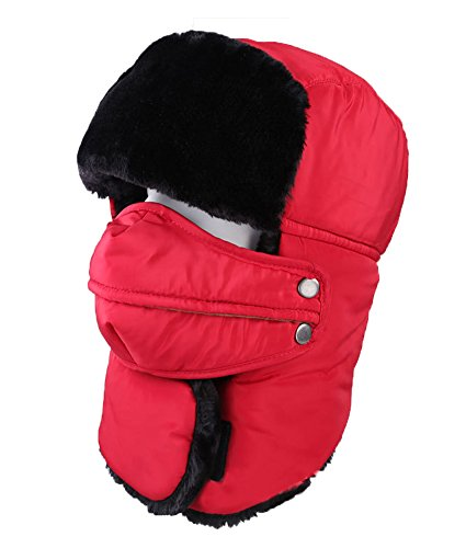 Super Trooper Costumes Canada (Men Women Trapper Hat Ear Flap Cap with Breathable and Detachable Mask Waterproof Thicken Warm Snow Cap Winter Red)