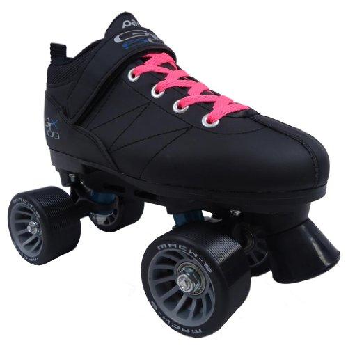 Pacer Mach-5 Black Pink Speed Skates - Mach5 GTX500 Quad Roller Skates,,Mens 7 / Ladies 8