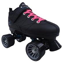Pacer Mach-5 Black Pink Speed Skates - Mach5 GTX500 Quad Roller Skates,,Mens 6 / Ladies 7