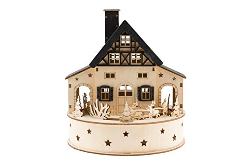 Clever Creations Traditional Wooden Table Top Christmas Decoration | Build Your Own Christmas Village | Unique House with Battery Operated Rotation and Christmas Lights | Spinning Sleigh and Reindeer (Wooden Sleigh)