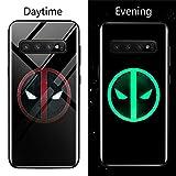 Venom Deadpool Black Panther Iron Man Batman Luminous Glass Case for Samsung Galaxy S8 S9 S10 e Plus Note 9 8 Marvel Phone Cover