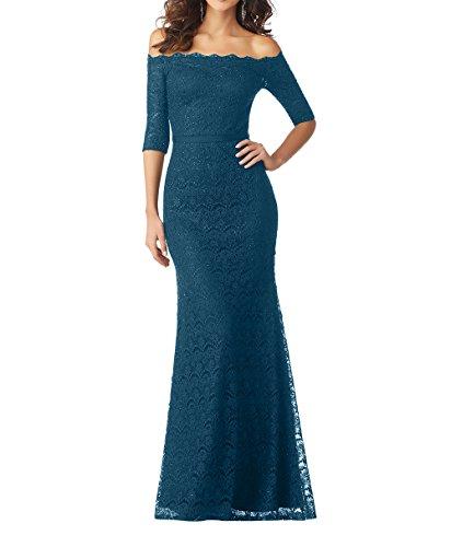 Abendkleider Damen Charmant Festlichkleider Tinte Neu Brautmutterkleider Langes Partykleider Bodenlang Spitze Blau Meerjungfrau CFqdwIq