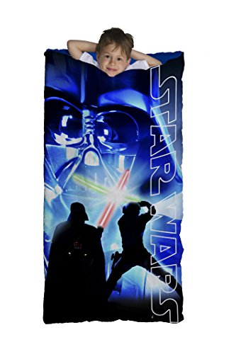Star Wars Classic Slumber Bag, Bonus Backpack with Straps, Darth Vader, Light Saber, Blue