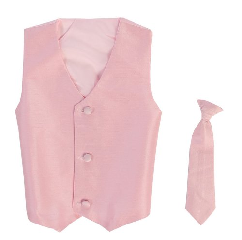 Boys In Pink Dresses - Vest and Clip On Baby Boy Necktie set - PINK - 2T/3T