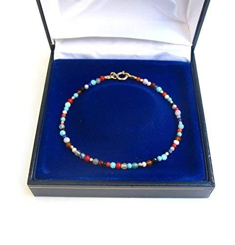 14 K solid gold multi color natural gemstone bracelet turquoise opal quartz gold emerald ruby pearl coral