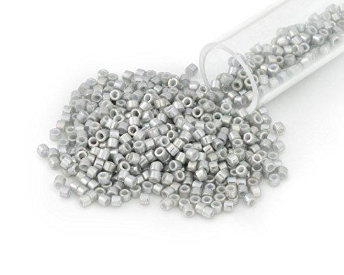 Miyuki Delica Seed Bead 11/0 White Gold Luster Light Grey Opaque (3 Gram Tube) ()
