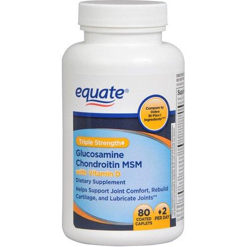 Equate - Glucosamine Chondroitin MSM, Advanced Triple Strength, 80 Caplets, Compare to Osteo Bi-Flex