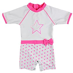 Sun Protective Swimsuit - UV Protection - Girl's Power - Elly La Fripouille (2 to 3 years, Fluo Pink & Grey)