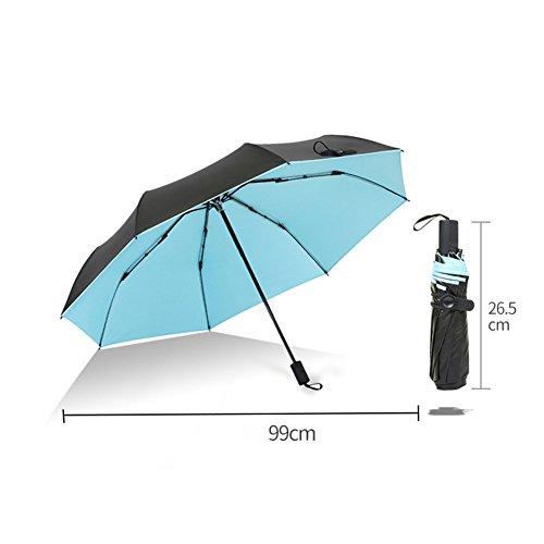 (3 Folding Umbrella,Compact Umbrellas,Sun Protection Sun&rain Umbrella Anti-uv Vinyl Lace Embroidery Female Umbrellas-Azure)