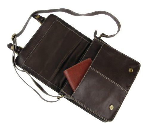 LEDER Bubalus WasserBüffel Büffelleder Vintage Retro Style Tasche Unisex Messenger Bag Umhängetasche Schultertasche Tablet Ipad mini bis ca. 10 Zoll CrossOver Ital. Bag 30x24x7 cm (BxHxT)