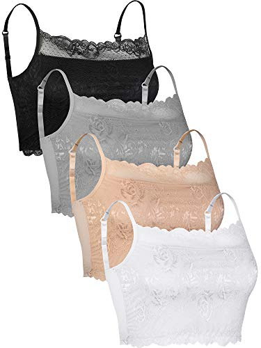 Trounistro 4 Pieces Lace Cami Half Lace Camisole Lace Half Bralette Lace Top (Color Set 1, - Cami Lacey
