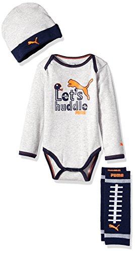 PUMA Baby Boys' 3 Piece Bodysuit and Hat Box Set, Light Grey Heather, 0/6 Months