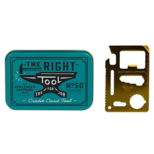 Gentlemen's Hardware 11-in-1 Credit Card Multi-Tool, Brass Tools And Hardware