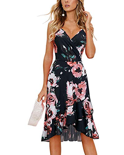 STYLEWORD Women's V Neck Spaghetti Strap Floral Loose Beach Casual Fitted Midi Dress(Floral05,M)