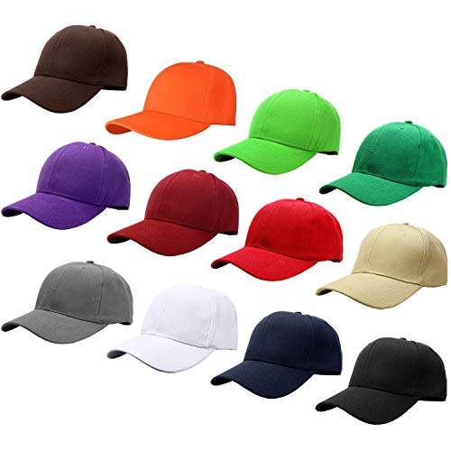 - Falari Wholesale 12-Pack Baseball Cap Adjustable Size Plain Blank Solid Color (Assorted Color Group 2)