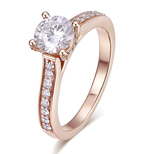 lid Gold DEF VS 1ct 6.5mm Round Brilliant Cut Halo Solitaire Moissanite Engagement Rings Women (Rose-Gold, 5.5) ()
