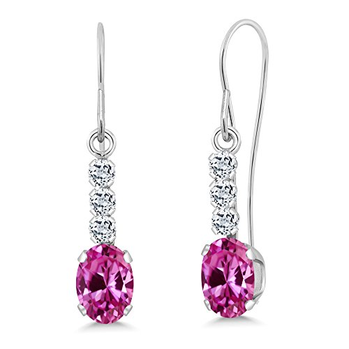 Pink Sapphire Oval Earrings (Gem Stone King 1.44 Ct Oval Pink Created Sapphire White Topaz 10K White Gold Earrings)