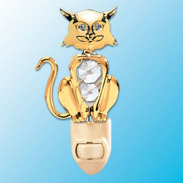 24k Gold Cat Night Light – Clear Swarovski Crystal For Sale