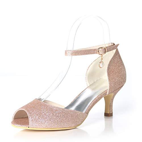 Nupcial Alto Zapatos Champagne Baja Peep Mujeres Toe Bombas Talón Corte Intermitente Hlg Partido HnSgq