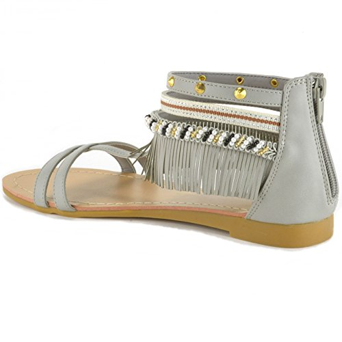 alpine swiss Womens Beaded & Studded Fringe Flat Gladiator Sandals Gray GGGHwDH