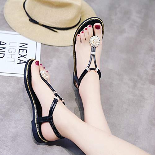HuWang Womens Sandals Bohemian Flip Flops 2018 Rhinestone Diamond Beach Sandal Flats Lady Black Green Luxury Slingbacks