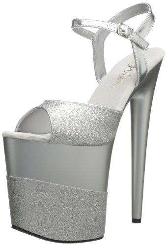Pleaser Flamingo 809-2G- Sandalias Mujer Silber (Silber (Slv Gltr/Slv-Gltr))