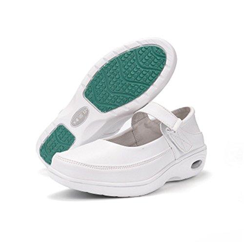 excellent.c Spring Swing Shoes White Breathable Sports Shoes Nurse Shoes Platform Wedge Shoes(white-39/8.5B(M)USWomen)