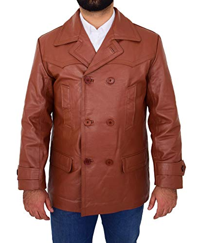 HOL Mens Real Leather Double Breasted Reefer Peacoat Jacket Salcombe Tan (X-Large)