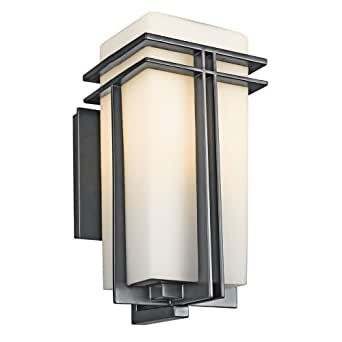 "Kichler 49201 Tremillo Single Light 14"" Tall Outdoor Wall Sconce with Etched Gla, Black (Painted)"