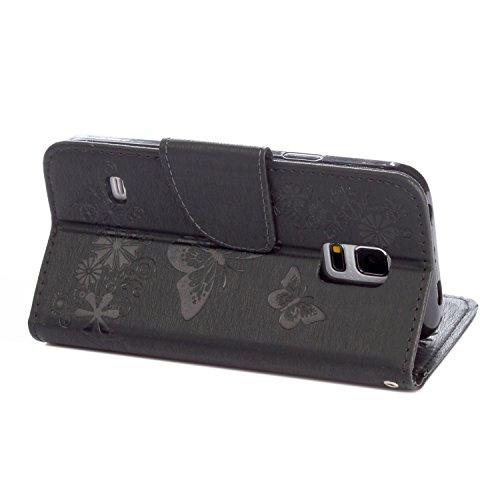 Galaxy S5 mini Funda, S5 mini Funda,Pegoo PU Cuero de Alivio Delgada Diseño Funda y Magnético Folio Flip Soporte Cover Case Caso Cáscara Caja para el Samsung Galaxy S5 mini (Rosa) Nero