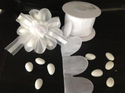 Flower Petal Almond Holder Ribbon White (10 Yards) Almond Petals