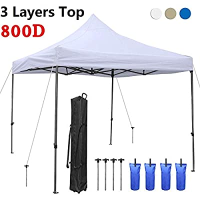 10x10 Ez Pop-up Canopy Tent, 5 Years Warranty Commercial Instant Sun Shelter Canopies Tent, Bonus Wheeled Carrying Bag, 4 Weight Bags and 4 Stakes