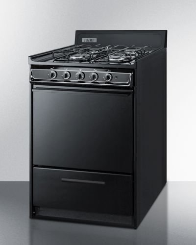 24'' Wide Gas Range In Black With Sealed Burners by Summit Appliance