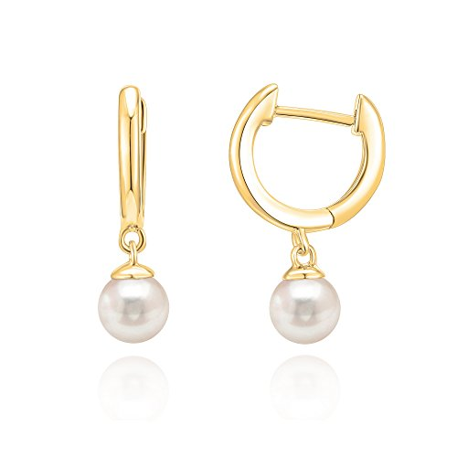 PAVOI 14K Yellow Gold Plated Shell Pearl Leverback Huggie Drop Earring 14k Yellow Gold Pearl Earrings