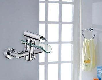 Hac24 Aufputz Wasserfall Glas Wannenarmatur Chrom Wasserhahn Bad