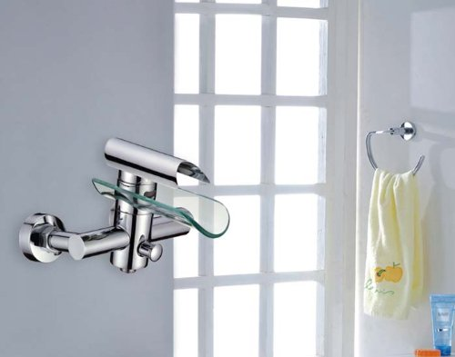 Einhebel Design Glas Wannen Armatur | Massiv | Badewanne Wasserfall Wasserhahn