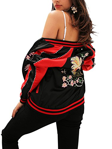 BerryGo Women's Satin Embroidered Baseball Bomber Jacket (Black1,S) - Embroidered Mandarin Collar Jacket
