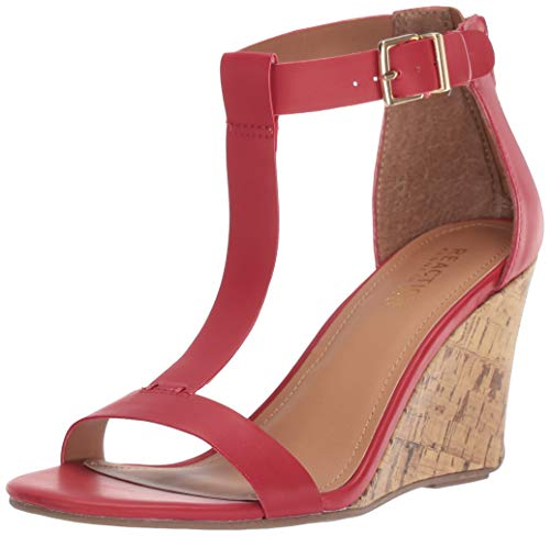 Kenneth Cole REACTION Women's Ava Great T-Strap Wedge Sandal, Red 7 M US