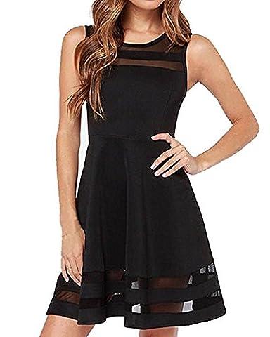 GUOYUJIANYI Women's Slim Sleeveless Short Mini Mesh Flare skater Dress Small Black - Flare Mini Dress