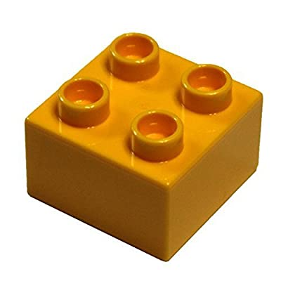 LEGO Parts and Pieces: DUPLO Bright Light Orange (Flame Yellowish Orange) 2x2 Brick x20: Toys & Games