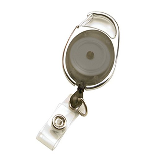 Badgemates Retractable Id Badge Holder - lotusflowert ID Badge Holder, BadgeMates, Translucent Retractable Carabiner Badge Reel, Assorted Colors(Black)