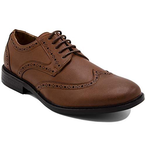 - Nautica Men's Dress Shoes Wingtip, Lace Up Oxford Business Casual-Miles-Tan Burnished-9.5
