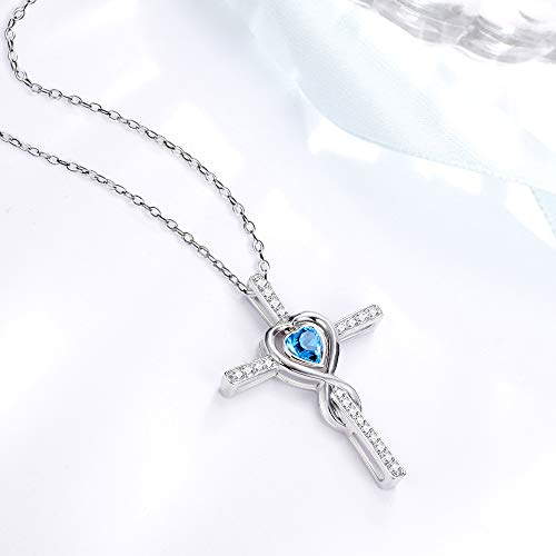 Love Heart Infinity Necklace Jewelry Birthday Gifts for Women Sterling Silver Blue Aquamarine Pendants Necklace 20 Chain